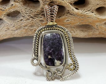 Morado Opal, Purple, Tri Color, Wire Wrapped, Sterling Silver, Pendant, .925 Sterling Silver, Focal, Beading, Jewelry, Supply