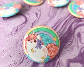 Kawaii Unicorn Pinback Button or Magnet - ( buttons pin pins cute flair )