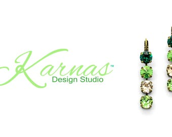 SPARKLING PINE 8MM Drop Earrings Made With Swarovski Crystal *Pick Your Finish *Karnas Design Studio *Free Shipping*