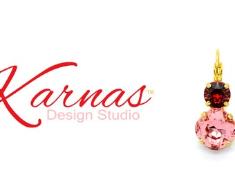 ROSE PEACH & SCARLET 12mm/8mm Cushion Cut Double Drop Earrings Swarovski Crystal *Pick Your Finish *Karnas Design Studio™ *Free Shipping*