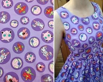 Fairy Pokémon Cotton Print Dress - SAMPLE SALE - Simple Unlined Sundress Approx UK size 10-12