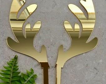 Christmas Reindeer Antlers Acrylic Gold Mirror Cake Topper
