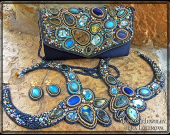 Necklace! Labradorite and Swarovski crystal seed bead embroidered statement necklace for special occasions
