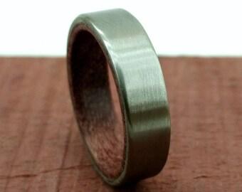 Purpleheart Ring, Purple Heart Ring, Purple Wood Ring, Purple Timber, Heartwood Ring, Titanium Ring, Satin Titanium Ring, Thin Ring, Design