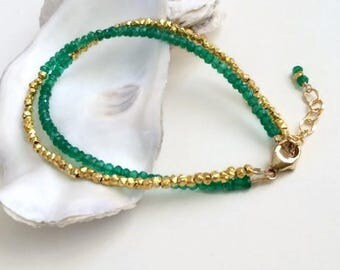 Dark Green Bracelet-May Birthstone-BFF Bracelet Gift-Jewelry Set For Wife-Minimal Bracelet-Sister in Law Gifts-Wife Gift Ideas-Mother-in-Law