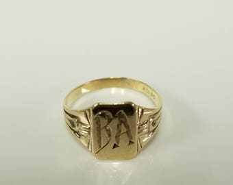 Size 4 Estate 10k Yellow Gold Initial Capital B A Monogram Midi Pinky Ring Band BR77-1
