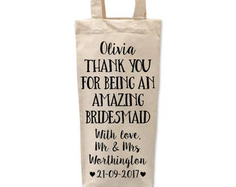 Bridesmaid Gift Bag | Bridesmaid Bottle Bag | Thank you Bridesmaid Bags | Bridal Party Gifts | Personalised Bottle Bag | Will you be my