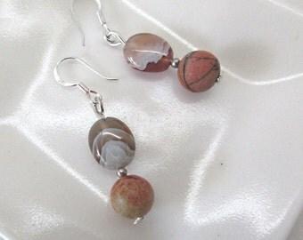 Stone Jewellery, Earthy Dangle and Drop Earrings, Semi Precious Gemstones, Botswana Agate Beads, Sterling Silver Hooks, Gift for Mum