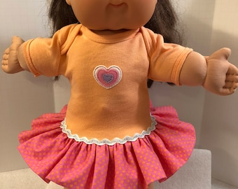 "Cabbage Patch 16 inch Kids Doll Clothes, Pretty Pink ""HEART"" Ruffle & Sparkling Trim Dress, 16 inch CPK Kids Doll, Fits 15 inch Bitty Baby"