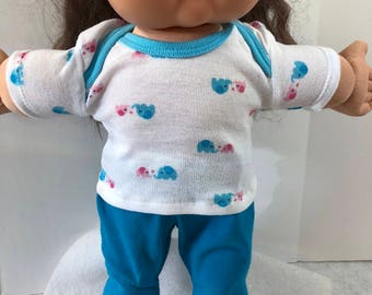 "Cabbage Patch Doll 16 inch Doll Clothes, Cute Pink & Blue ""Mommy and Baby ELEPHANTS"" Top, Blue Pants, 16 inch Cabbage Patch Clothes"
