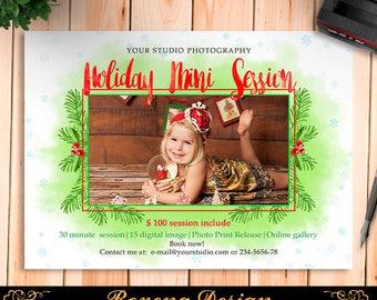Christmas Mini Session Template - Holiday Mini Session Photography Marketing Board - Christmas Minis - Photoshop Template