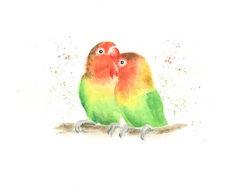 love birds print, bird print, love birds art, parrot print, love birds wall art, animal print, tropical decor, tropical print, bird art,