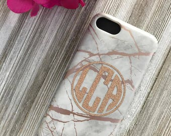 Rose Gold Marble Phone Case with Circle Monogram | iPhone 7 8 X | iPhone 7 8 Plus Case | Samsung Galaxy S7 S6 Edge | Personalized | Gift