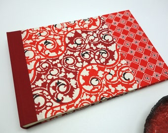 Personalized guest book or photo album with red Japanese paper - baby book, wedding, wedding guest book