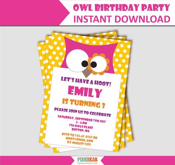 Owl birthday invitation owl party invitation owl invitation il570xn filmwisefo