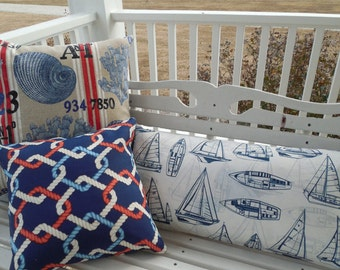 Nautical Outdoor Pillow Cover Beach Patio Porch Decorative Throw Pillow Red  Navy Blue Shell Knot Sailboat