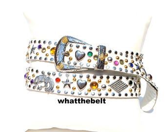 Vintage Belt White Leather Conchos Southwestern Jeweled Western Studded Belt Large A22