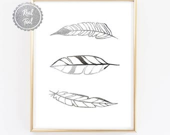 FEATHERS print // Silver Foil feather poster // 3 floating feathers // Foiled Print // Real silver Wall art // home decor // Interior design