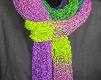 Wool scarf in brilliant purples and greens