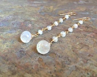 Moonstone gemstone gold dangle earrings