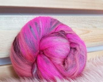 Pink Carded Wool. Merino Wool Batt. Spinning Fiber. DIY Spin Yarn. Valentine's Day Gift. Gifts under 10.