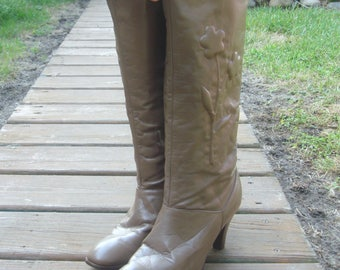 Vintage Tall Taupe Leather Knee High High Heel Boots~9~