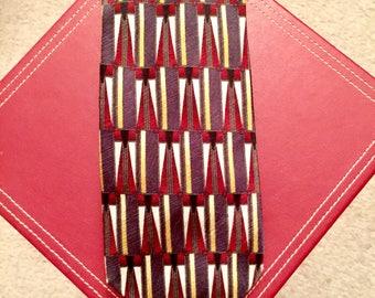 Vintage Silk Necktie Today's Man 100% Silk Made in Italy Brown Yellow Gemetric