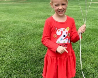 Girl's Bouncing Ball Birthday Dress with Number and Name