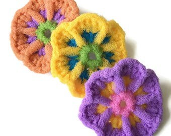Dish Scrubbies,Flower Scrubbers,You Choose 2 Through 8 Nylon Fairy Flowers ,Super-Durable,Works Great on Teflon and All-Clad,Gift for Her