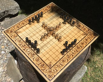 "READY TO SHIP! - Hnefatafl Game: ""Norseman Tafl"" variant, 13x13 squares, handcrafted of poplar w/ art border - Tafl the Game of the Vikings"