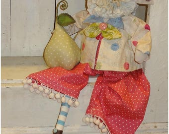 Folk Art Primitive Pig and Pear doll OOAK