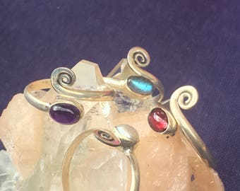 Adjustable Toe Ring with Gemstones ~Single Piece ~