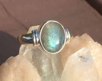 Handmade Aqua Blue Labradorite Silver 92.5 Ring  (stone house 12mm x 10mm)