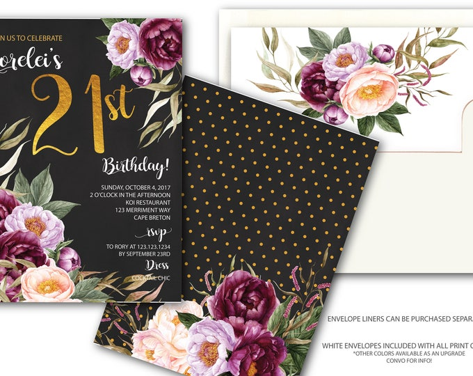 21st Birthday Invitation / Burgundy Floral Birthday Invitation / Watercolor / Chalkboard/ Black / Pink / Wine /Gold / FLORENCE COLLECTION