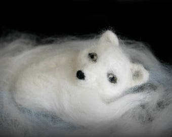 Needle felted arctic fox, felted fox, white fox