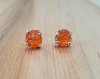 Rare Orange Mexican Opal Rough 925 Sterling Silver Stud Earrings / Stone Earrings / Fire Opal / Sterling Earrings / Raw Stone / Round Studs