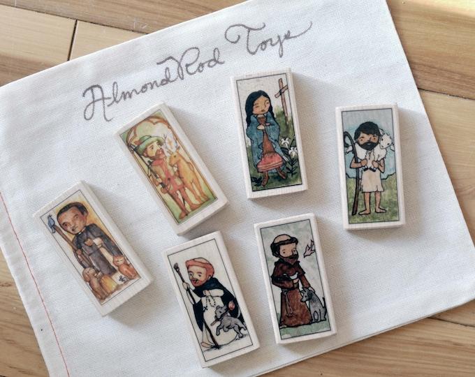 Catholic toys // Nature Lovers Saint Block Set // St Dominic, Francis of Assisi, Kateri Tekakwitha, Martin de Porres, Hubert, Good Shepherd
