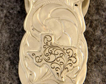 Money Clip - IN STOCK Hand Engraved Money Clip with Hand Engraved Nickel Texas  Makes a Great Gift for Men or Women