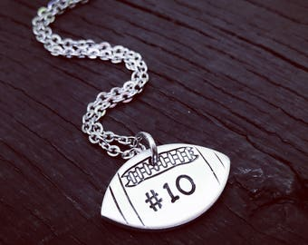 Football Stamped Necklace | Football Necklace | Football Jewelry | Football Jewelry Gift | Football Mom Jewelry | Sports Jewelry Gift