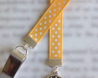 Sun Bookmark / Sun Lover Bookmark / Sun Face Bookmark - Clip to book cover then mark the page with the ribbon. Never lose your bookmark!