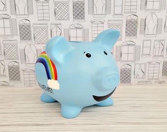 Believe Piggy Bank, Rainbow Piggy Bank, Blue Piggy Bank, Cloud Piggy Bank, Piggy Bank, Bank, Baby Bank, Baby Gift, Kids Piggy Bank, Nursery