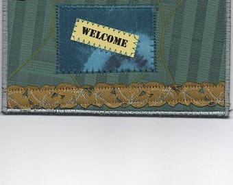 Fabric Art Welcome Postcard