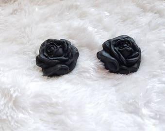 Clay Rose Earrings, Rose Earrings, Rose Stud Earrings, Flower Earrings, Polymer Clay Earrings