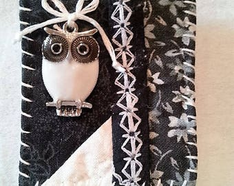 Hand Stitched Black and White Owl Brooch