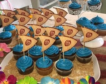 Moana cupcake toppers sailboat, Moana party, Moana decoration, Moana tableware 18 ct