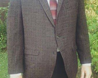 Vintage 1950s American brown flecked sport coat, box jacket. Mid-century, Rockabilly, Elvis style.