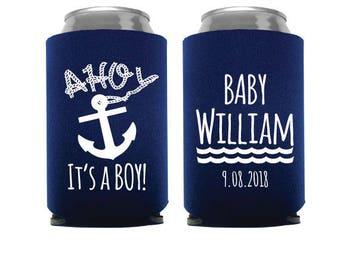 Ahoy It's A Boy, Baby Shower Can Cooler, Ahoy It's A Boy Can Cooler, AHoy It's a Boy Can Coolers, Baby Shower Favors, Baby Shower Favor- 153
