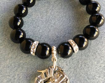 Black Onyx and Crystal Stretch Bracelet