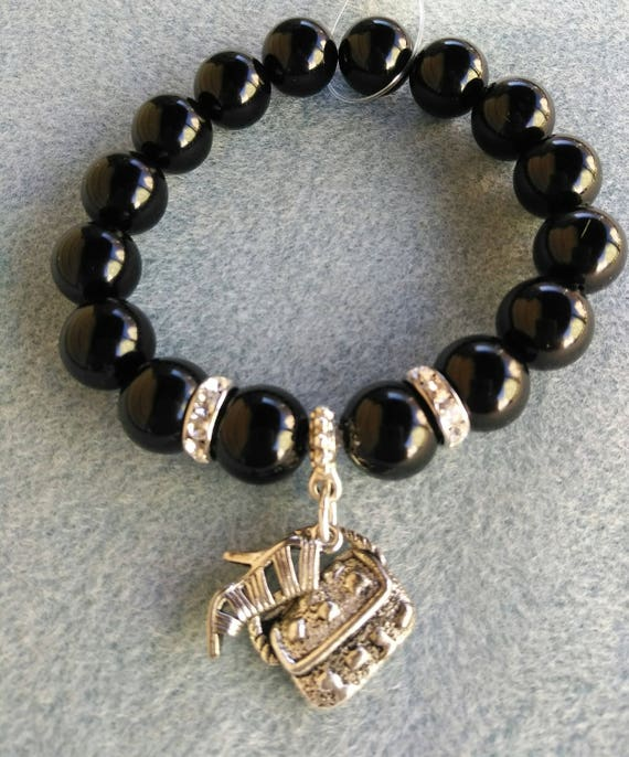 Black Onyx and Crystal Stretch Bracelet