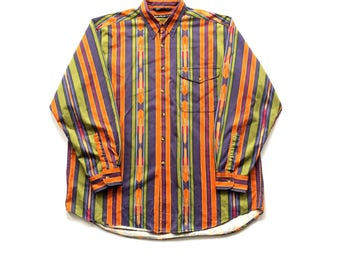 Vintage nautica dress shirt multi colour striped aztec pattern size xl vibrant